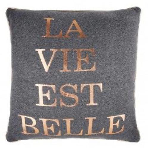 La Vie Est Belle Dekokissen Grau 50x50 cm