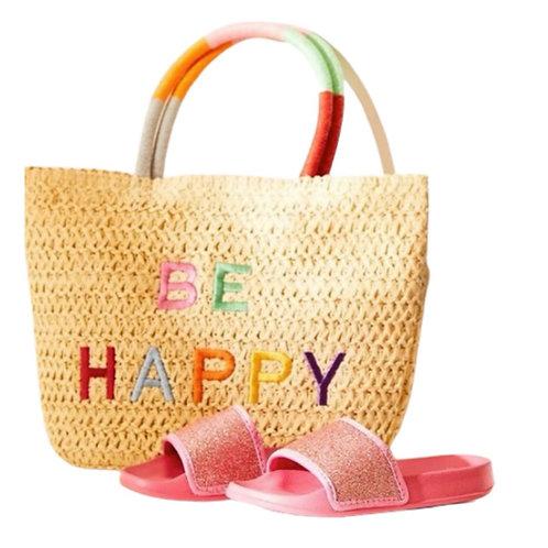 """La petite surprise Couture Strohtasche """"Be Happy"""""""