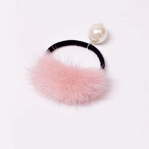 La petite surprise Couture Haargummi mit Fell und Perle Rosa