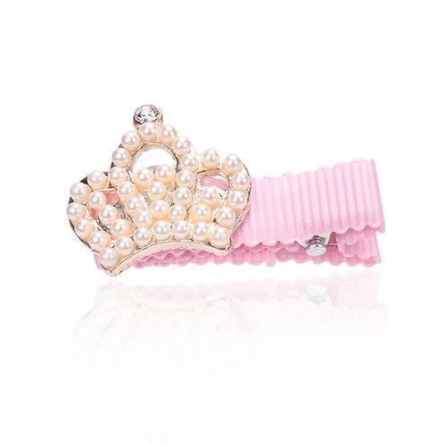 La petite surprise Couture Girly Haarspange Rosa Krone Perlen