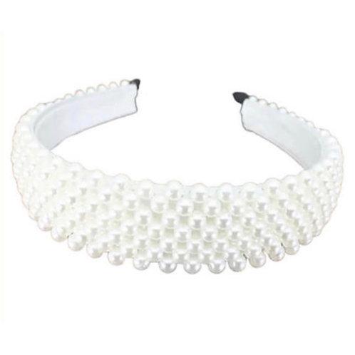 La petite surprise Couture Perlen Haarreifen Weiß