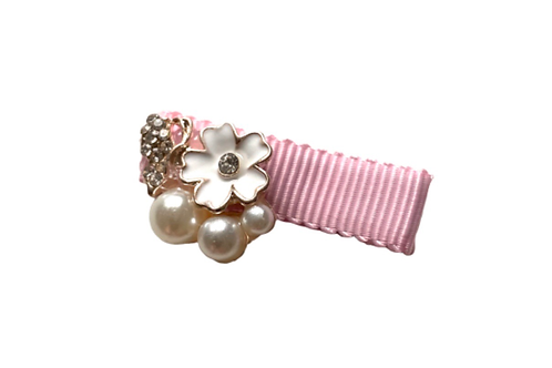 La petite surprise Couture Girly Haarspange Rosa Perlen
