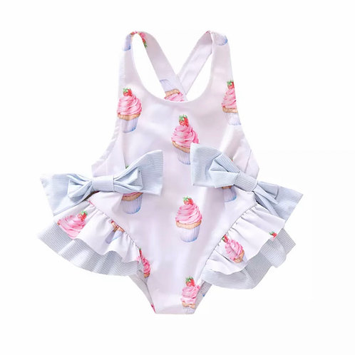 La petite surprise Couture Badeanzug Eiscream Weiß