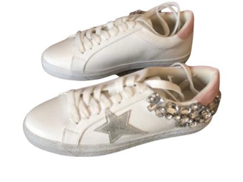Findlay - Sneakers Glitzer XXL Strass Stern Weiß-Rosa