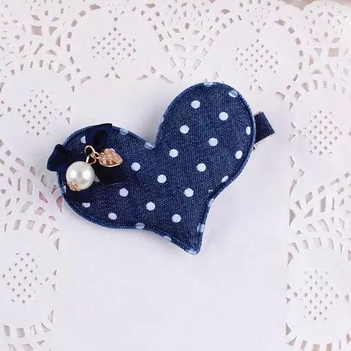 La petite surprise Couture Haarspange Denim Herz