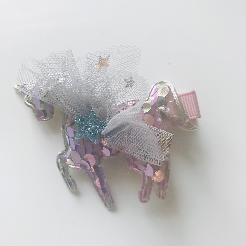 Thumbnail: La petite surprise Couture Haarspange Einhorn Bunt