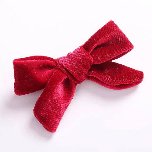 La petite surprise Couture Haarspange Samtschleife Rot