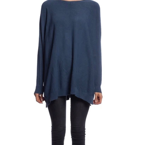 V Milano - Pullover Dulcie Oversize Jeansblau