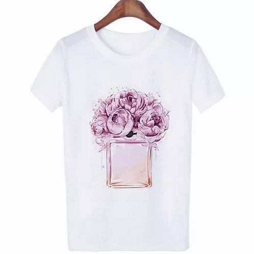La petite surprise Couture Damen T-Shirt Parfümflasche Rose