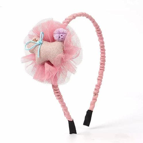 La petite surprise Couture Haarreifen Rosa Hund
