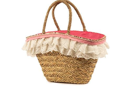 Primadonna - Korbtasche Strohkorb Rosa-Pink