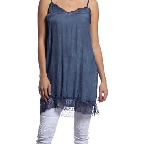 V Milano Spitzentop  / Unterkleid Sindy Jeansblau Gr.M