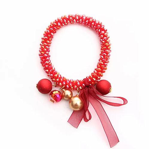 La petite surprise Couture Crystal Haargummi / Armband Transparent Rot