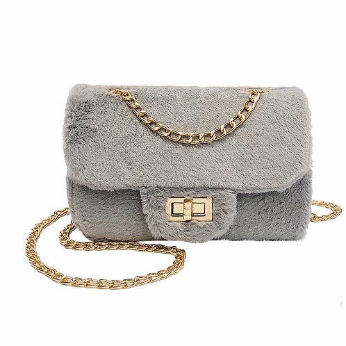 La petite surprise Couture Plüsch Tasche Grau