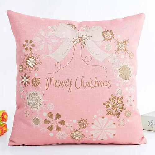 La petite surprise Kissen Hülle Rosa Merry Christmas