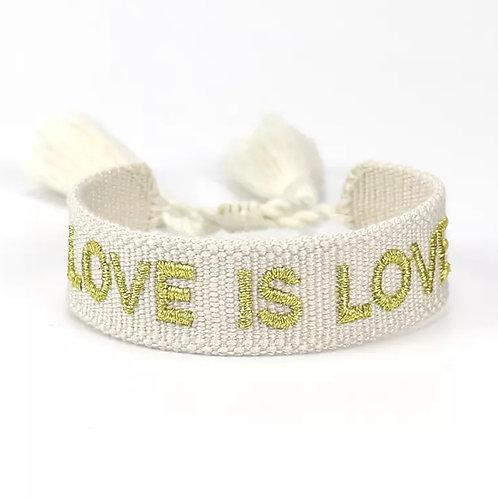 "Boho Canvas Armband ""Love is Love"" Reisweiß-Gold"