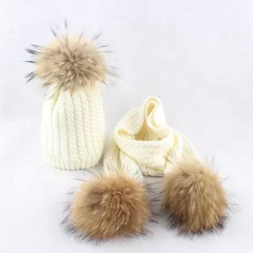La petite surprise Couture Set Mütze & Schal Creme