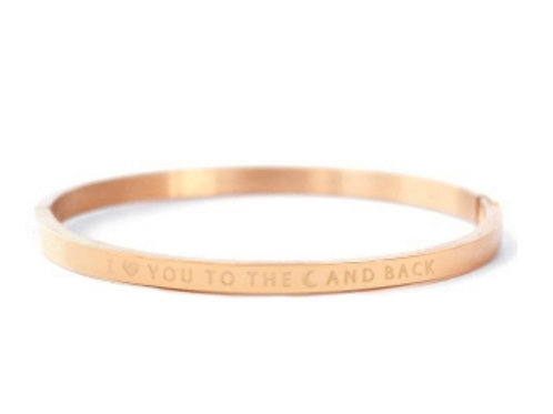 """Armband aus Stainless Steel - """"I LOVE YOU TO THE MOON AND BAC"""