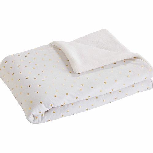 La petite surprise Couture - weiße Babydecke mit goldfarbenen Punkten 100x75 cm