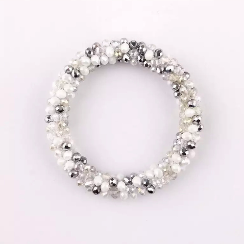 La petite surprise Couture Crystal Haargummi / Armband Weiß-Silber-Mix