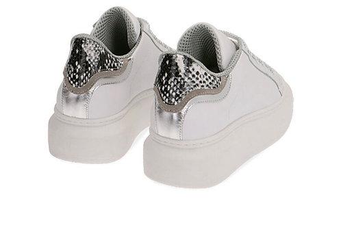 Primadonna - Leder Sneakers Weiß-Silber-Python
