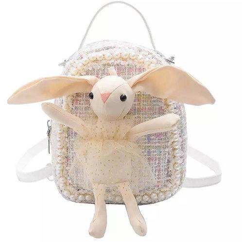 La petite surprise Couture weißer Boucle Rücksack mit hellen Bunny