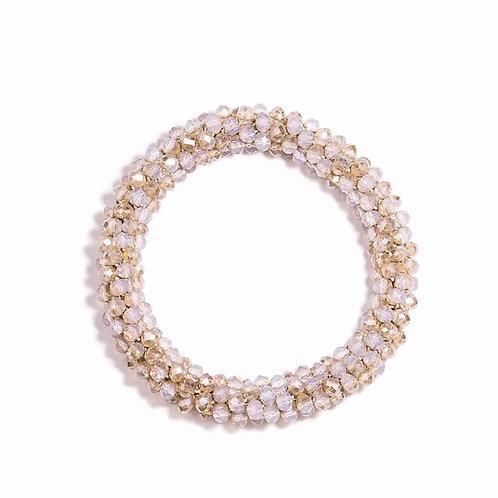 La petite surprise Couture Crystal Haargummi / Armband Beigeweiß