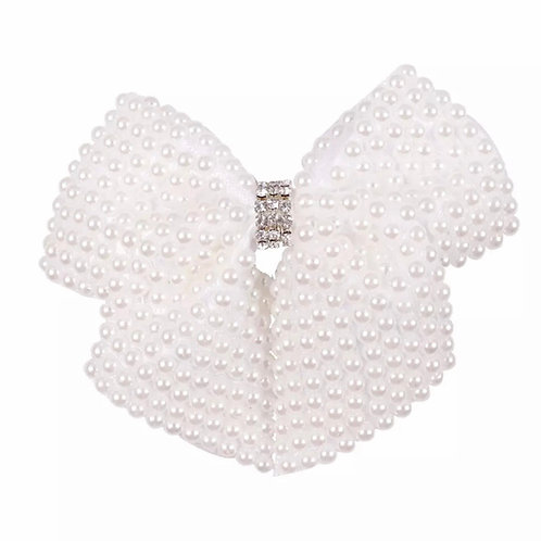 La petite surprise Couture Haarspange Perlen Schleife Weiß