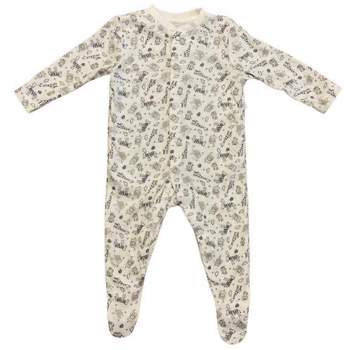 La petite surprise Couture Baby Strampler Tiere Weiß-Grau