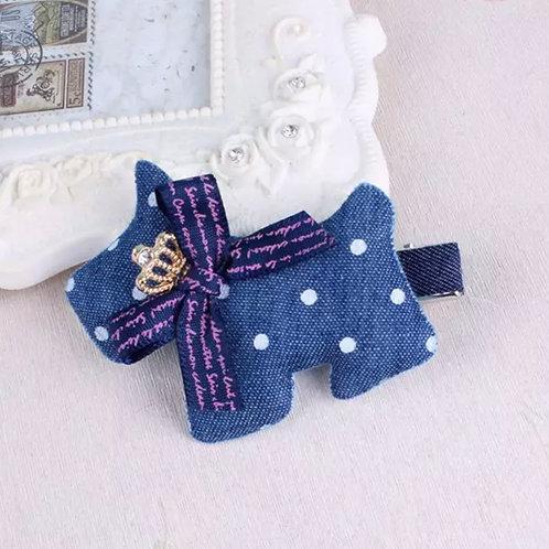 La petite surprise Couture Haarspange Denim Hund
