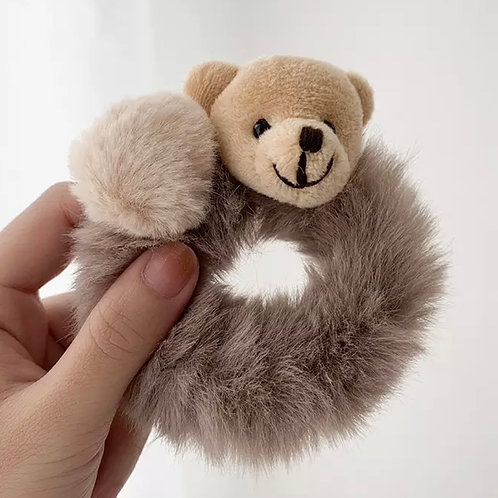 La petite surprise Couture Plüsch Scrunchie Teddy Taupe