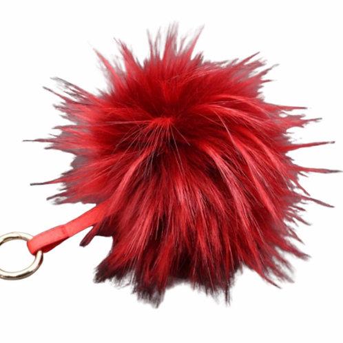 La petite surprise Couture Anhänger mit Fellbommel Rot