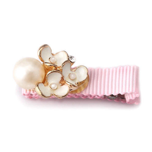 La petite surprise Couture Girly Haarspange Rosa Blumen Perlen