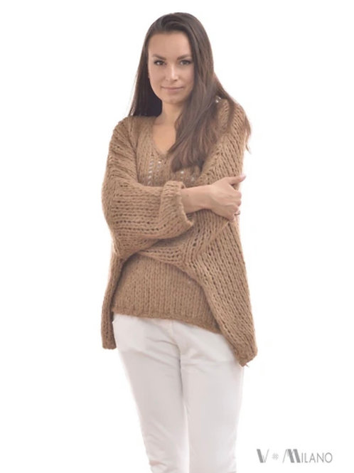 V Milano - Pullover V. Lora Oversize Camel