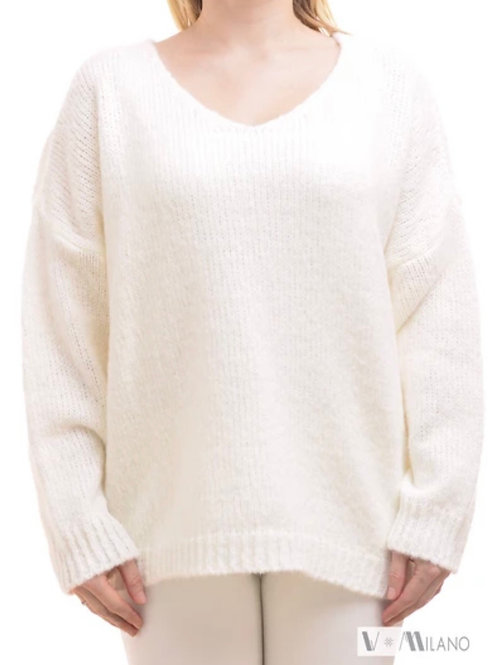 V Milano Pullover Unica Oversize Wollweiß
