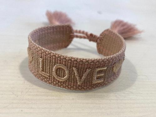 """La petite surprise Couture Canvas Armband """"Love"""" Altrosa"""