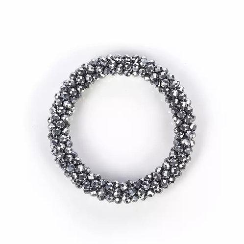 La petite surprise Couture Crystal Haargummi / Armband Silbergrau