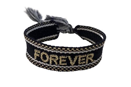 """Boho Canvas Armband """"Forever"""" Schwarz-Gold"""