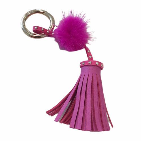 La petite surprise Couture Anhänger mit Fellbommel & Tassel Pink