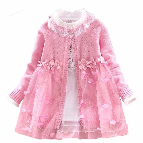 La petite surprise Couture 2-Teiler Kleid & Strickjacke Rosa