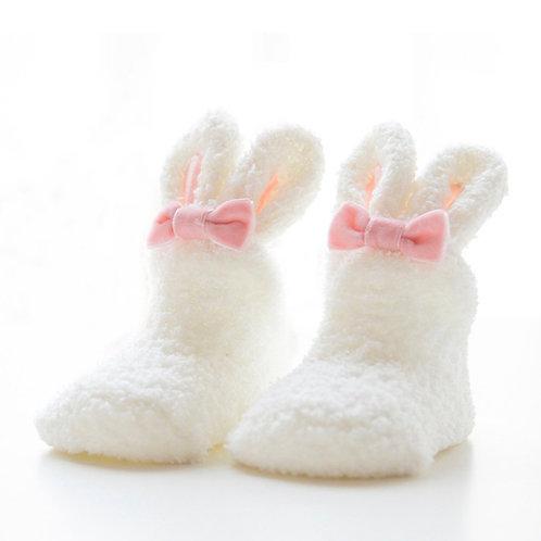 La petite surprise Couture Baby Fleece Socken Bunny Wollweiß