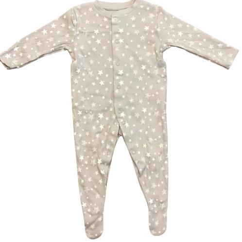La petite surprise Couture Baby Strampler Sterne Hellgrau