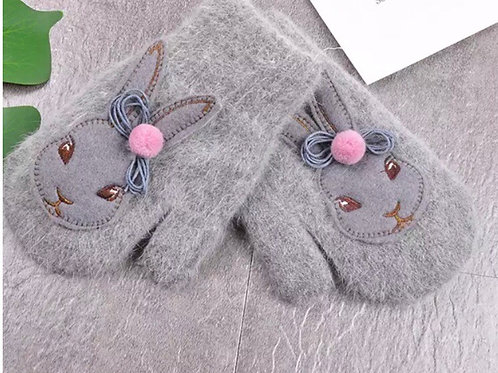 La petite surprise Couture Handschuhe Fäustlinge Bunny Grau