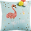 Thumbnail: La petite surprise Couture - Kissen, türkisblau mit Flamingo-Motiv, 40x40