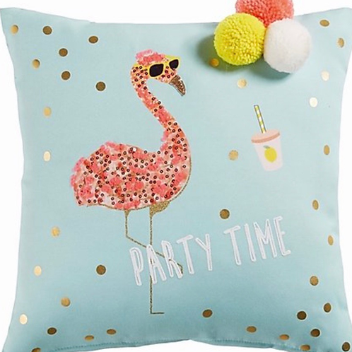 La petite surprise Couture - Kissen, türkisblau mit Flamingo-Motiv, 40x40