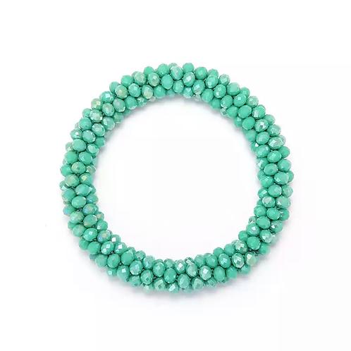 La petite surprise Couture Crystal Haargummi / Armband Türkisgrün