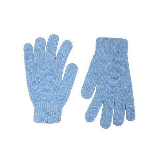 Zwillingsherz - Handschuhe 100% Cashmere Uni Himmelblau