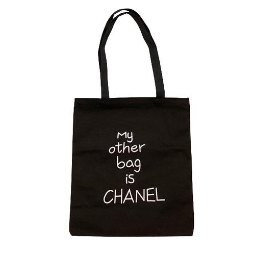 Canvas Shopper 'My other bag is Chanel' Schwarz