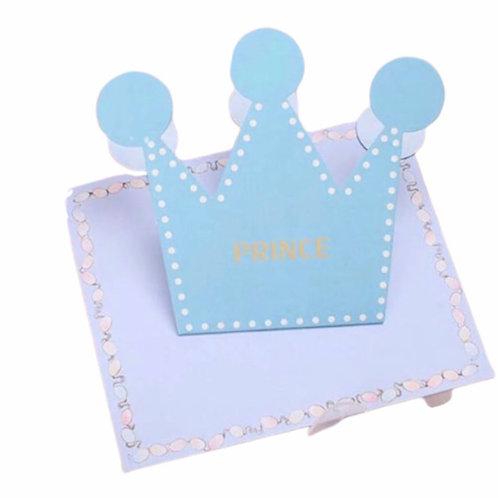 La petite surprise Couture Baby Grußkarten Prince Krone Hellblau