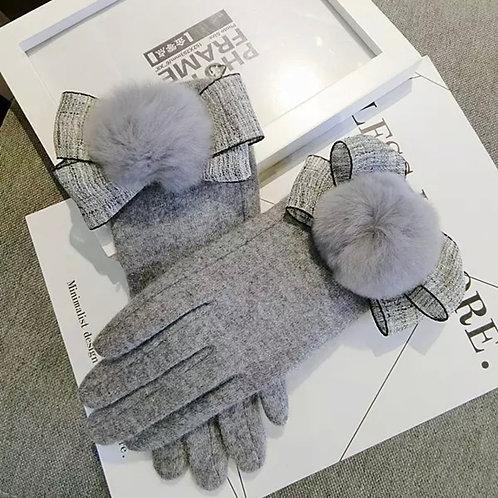 La petite surprise Couture Damen Handschuhe Grau
